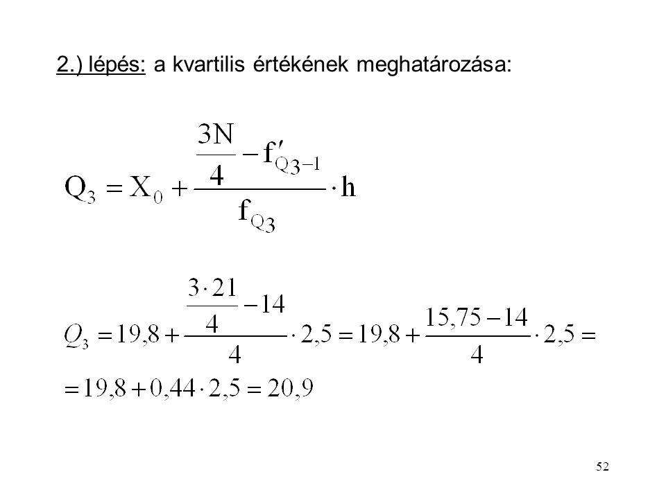 2.) lépés: a kvartilis értékének meghatározása: