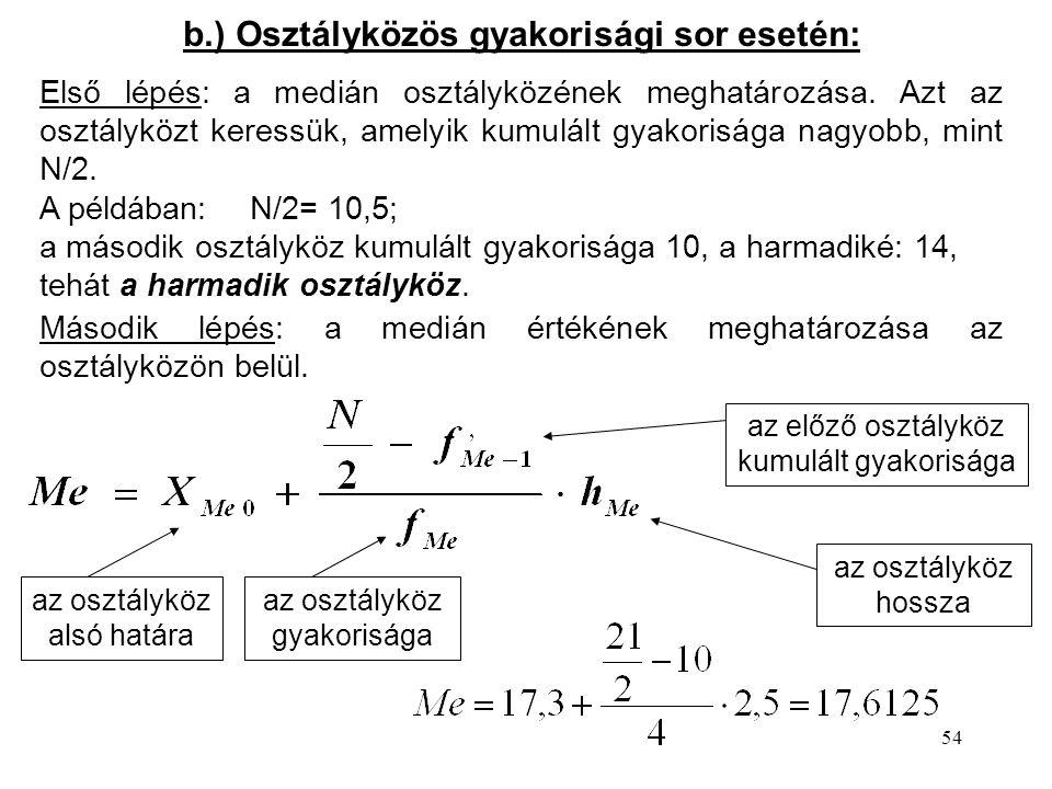 b.) Osztályközös gyakorisági sor esetén: