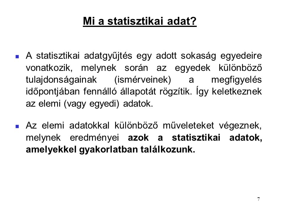 Mi a statisztikai adat