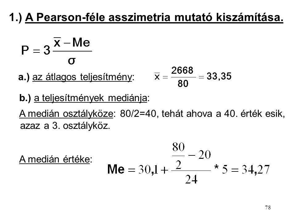 1.) A Pearson-féle asszimetria mutató kiszámítása.