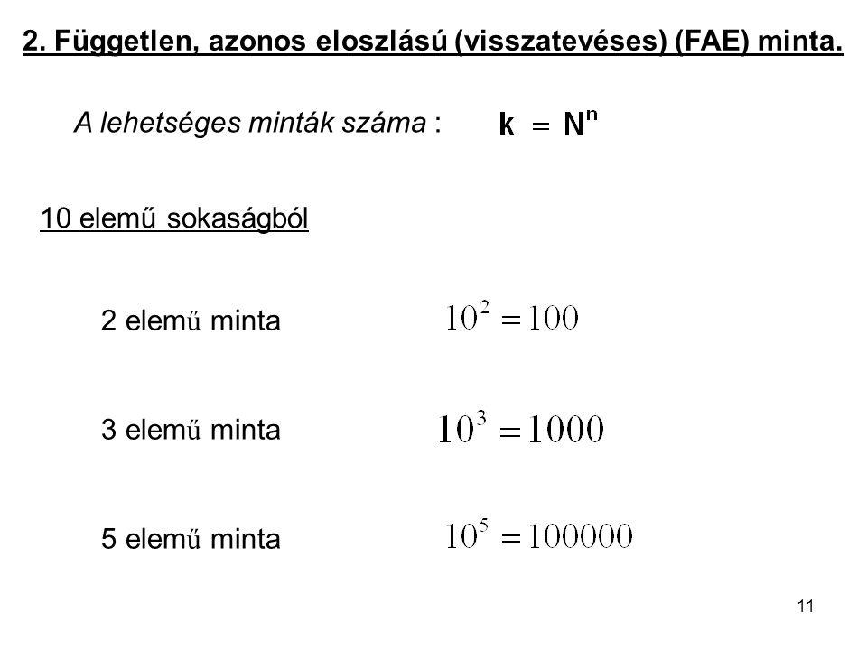2. Független, azonos eloszlású (visszatevéses) (FAE) minta.