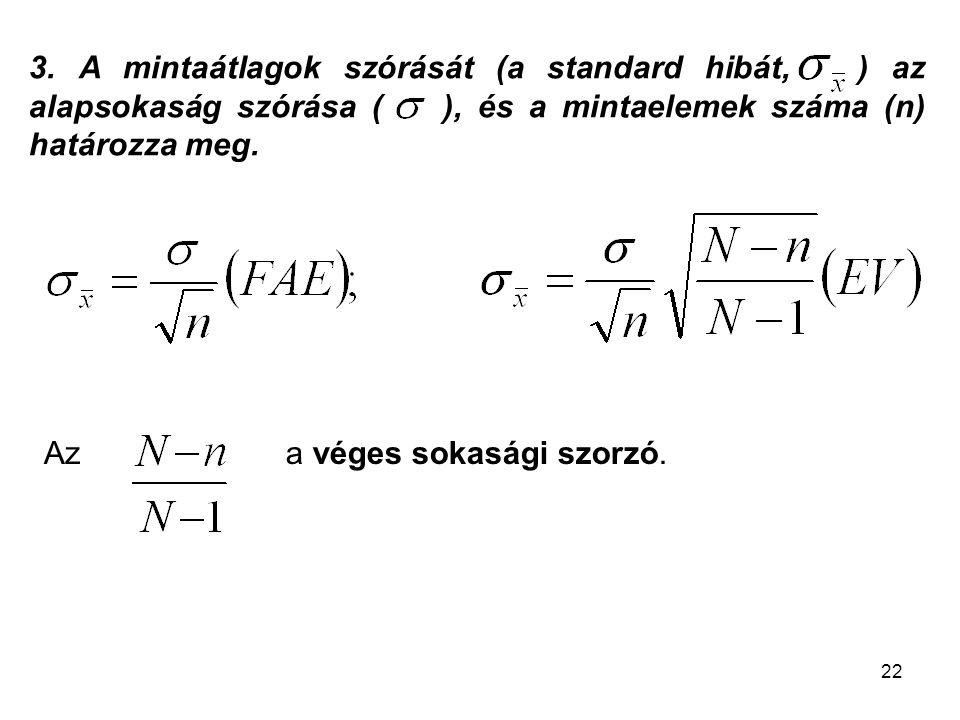 3. A mintaátlagok szórását (a standard hibát, ) az alapsokaság szórása ( ), és a mintaelemek száma (n) határozza meg.