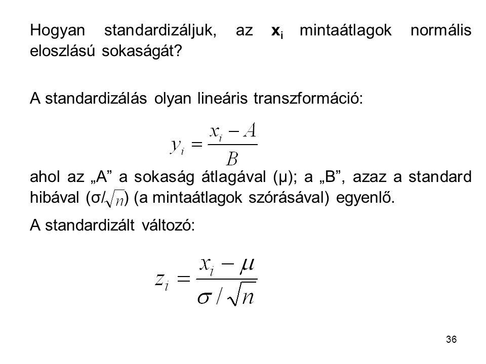 Hogyan standardizáljuk, az xi mintaátlagok normális eloszlású sokaságát