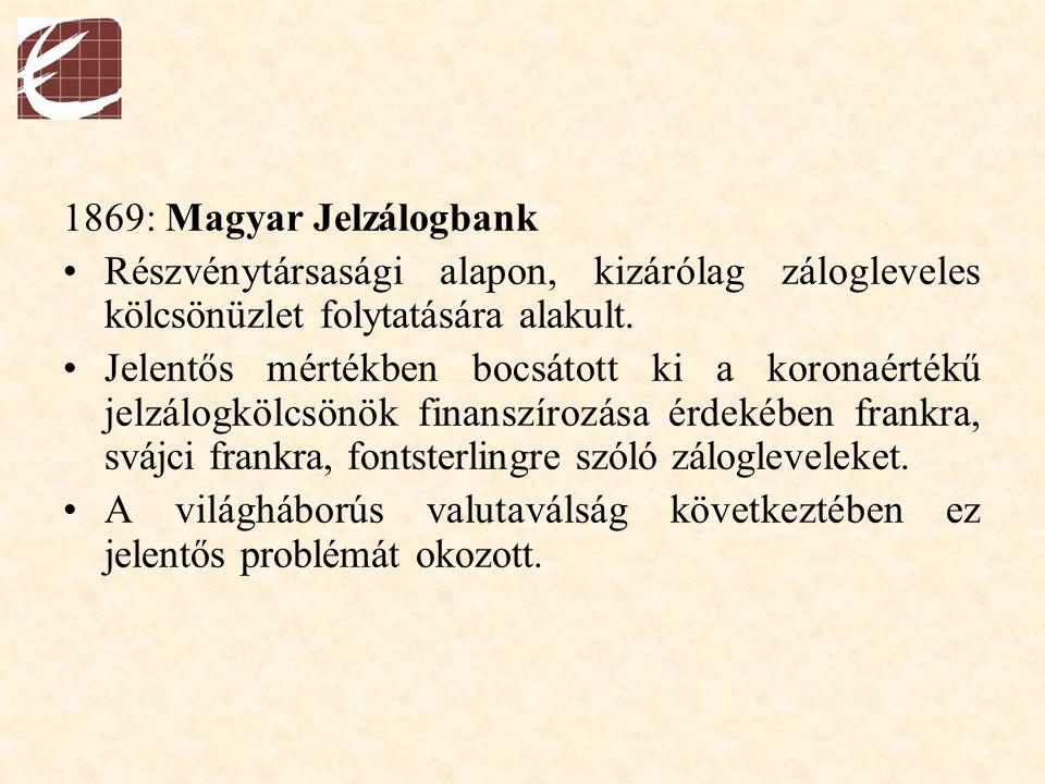1869: Magyar Jelzálogbank Részvénytársasági alapon, kizárólag zálogleveles kölcsönüzlet folytatására alakult.