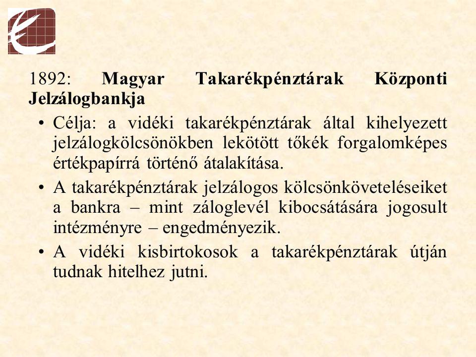 1892: Magyar Takarékpénztárak Központi Jelzálogbankja