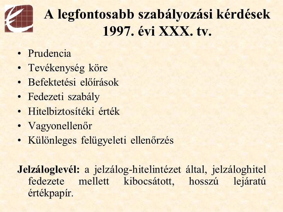 A legfontosabb szabályozási kérdések 1997. évi XXX. tv.