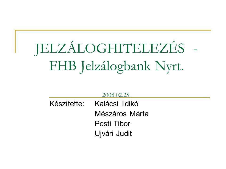 JELZÁLOGHITELEZÉS - FHB Jelzálogbank Nyrt. 2008.02.25.