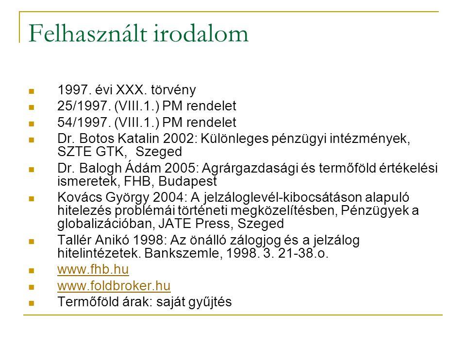 Felhasznált irodalom 1997. évi XXX. törvény