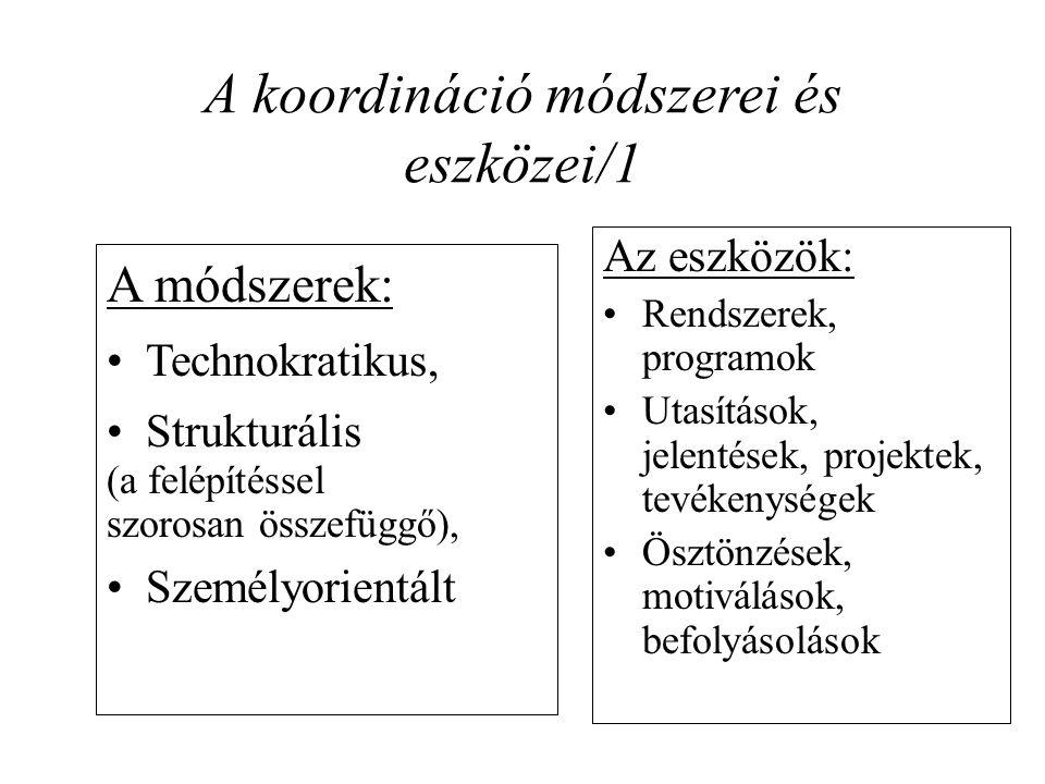 A koordináció módszerei és eszközei/1