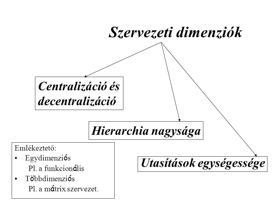 Szervezeti dimenziók Centralizáció és decentralizáció