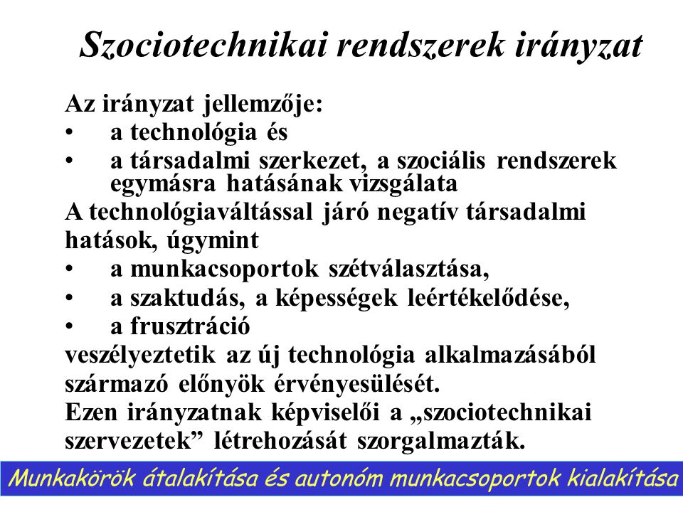 Szociotechnikai rendszerek irányzat