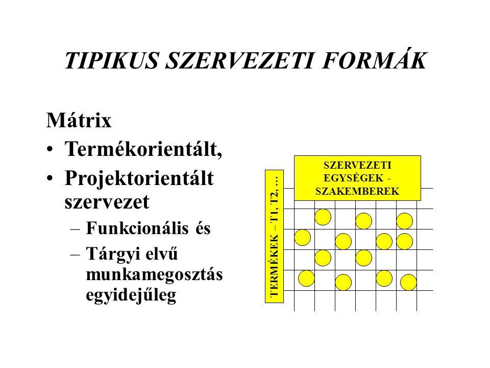 TIPIKUS SZERVEZETI FORMÁK EGYSÉGEK -SZAKEMBEREK