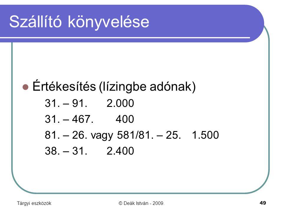 Szállító könyvelése Értékesítés (lízingbe adónak) 31. – 91. 2.000