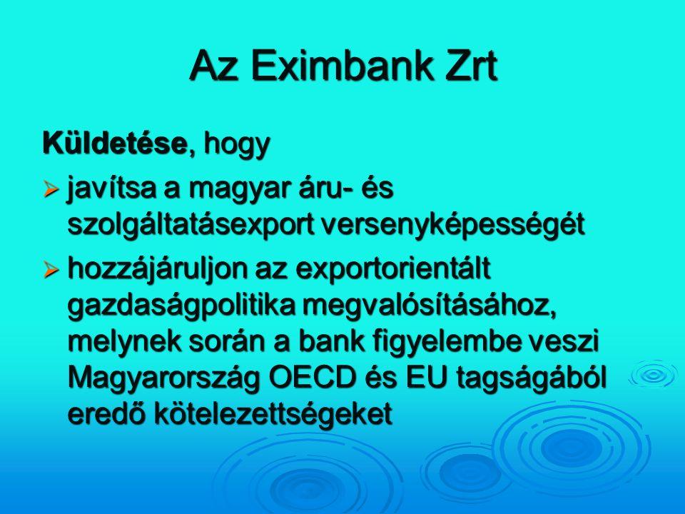 Az Eximbank Zrt Küldetése, hogy