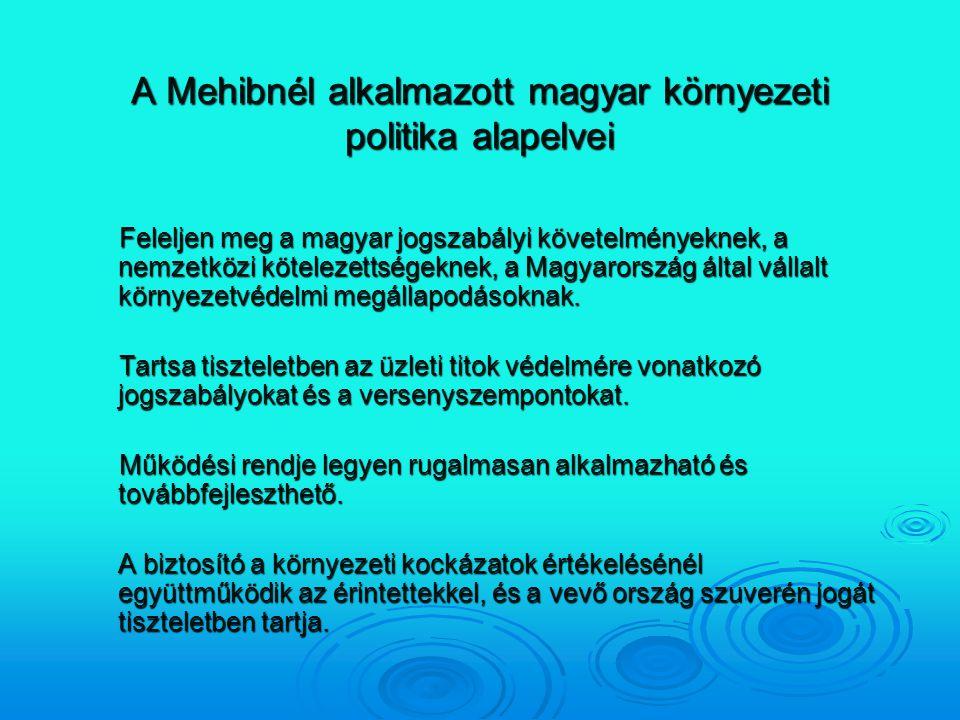 A Mehibnél alkalmazott magyar környezeti politika alapelvei
