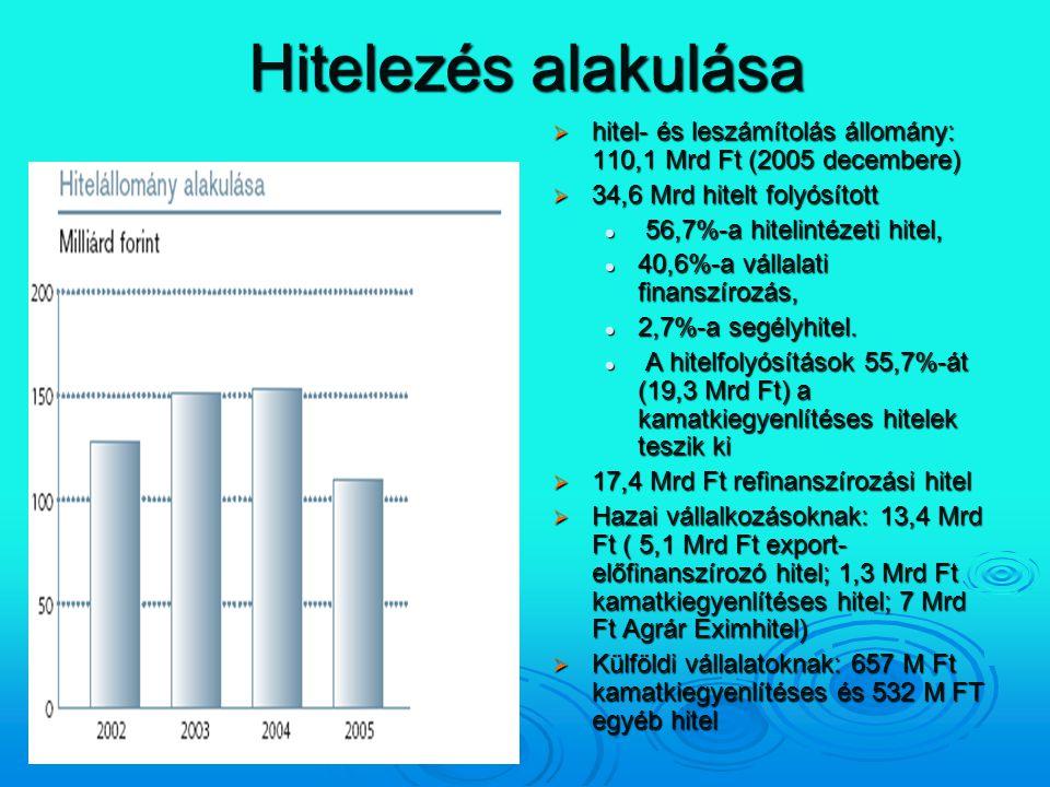 Hitelezés alakulása hitel- és leszámítolás állomány: 110,1 Mrd Ft (2005 decembere) 34,6 Mrd hitelt folyósított.