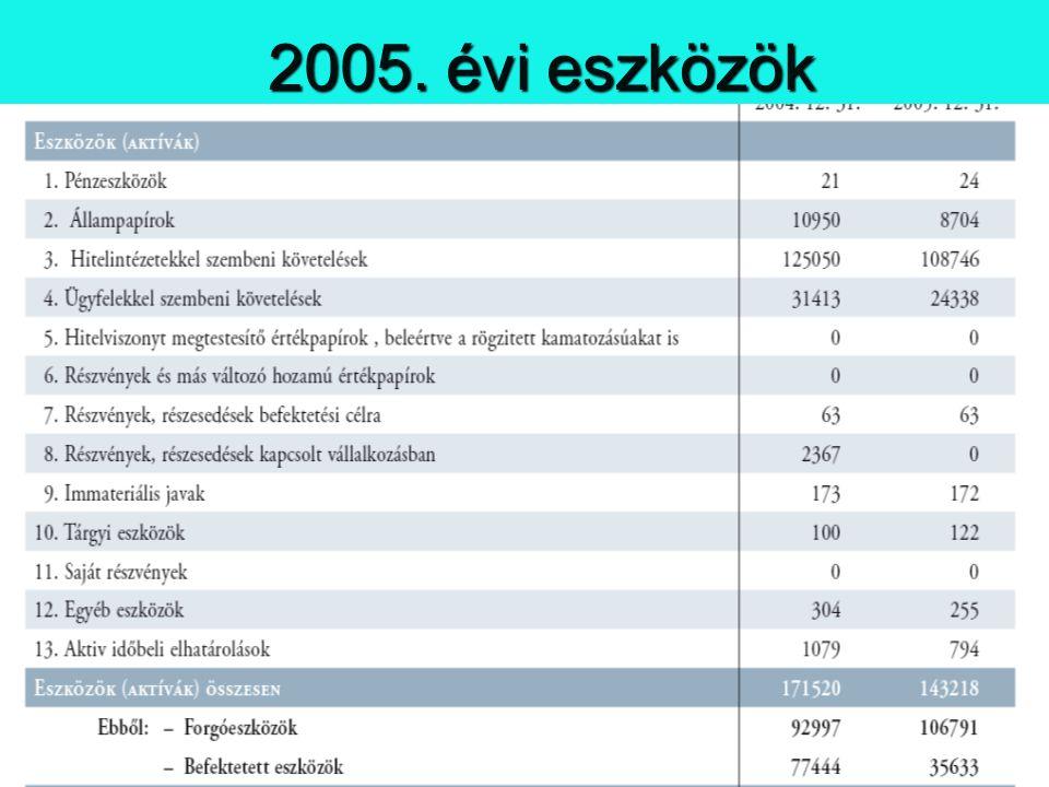 2005. évi eszközök