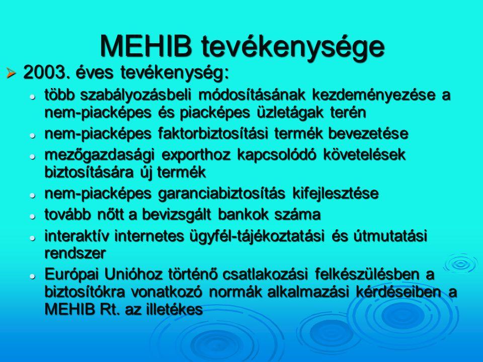 MEHIB tevékenysége 2003. éves tevékenység: