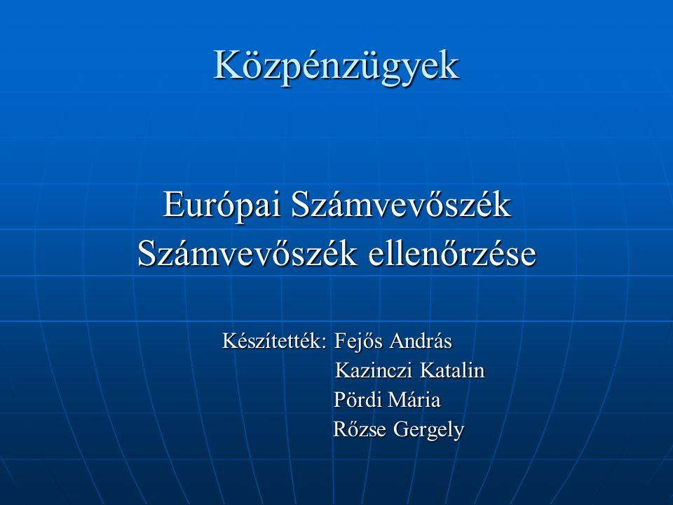 Közpénzügyek Európai Számvevőszék Számvevőszék ellenőrzése