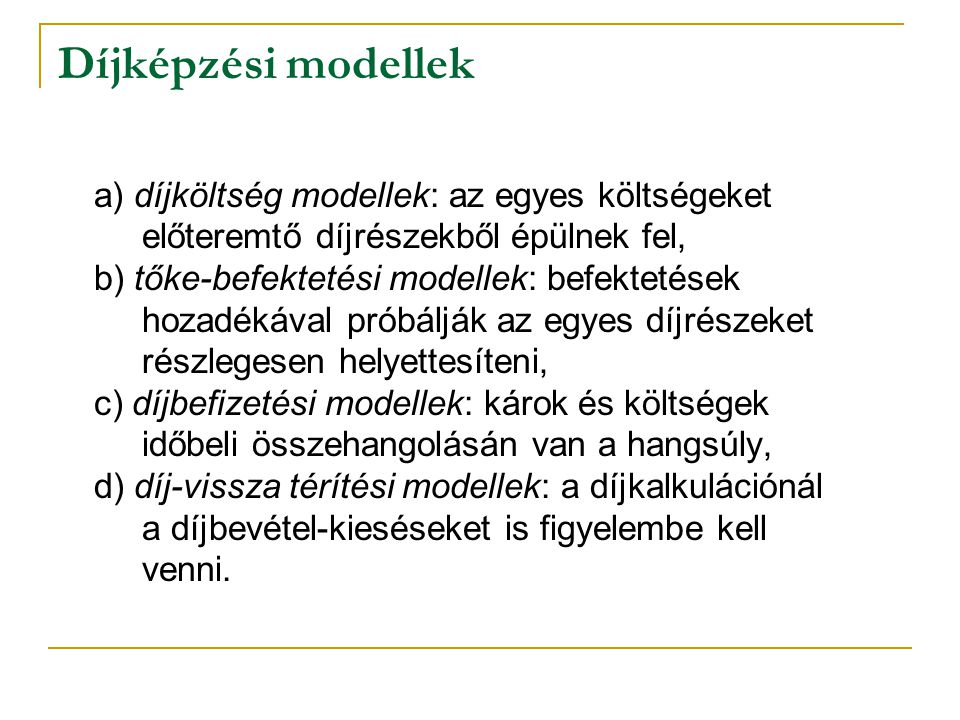 Díjképzési modellek