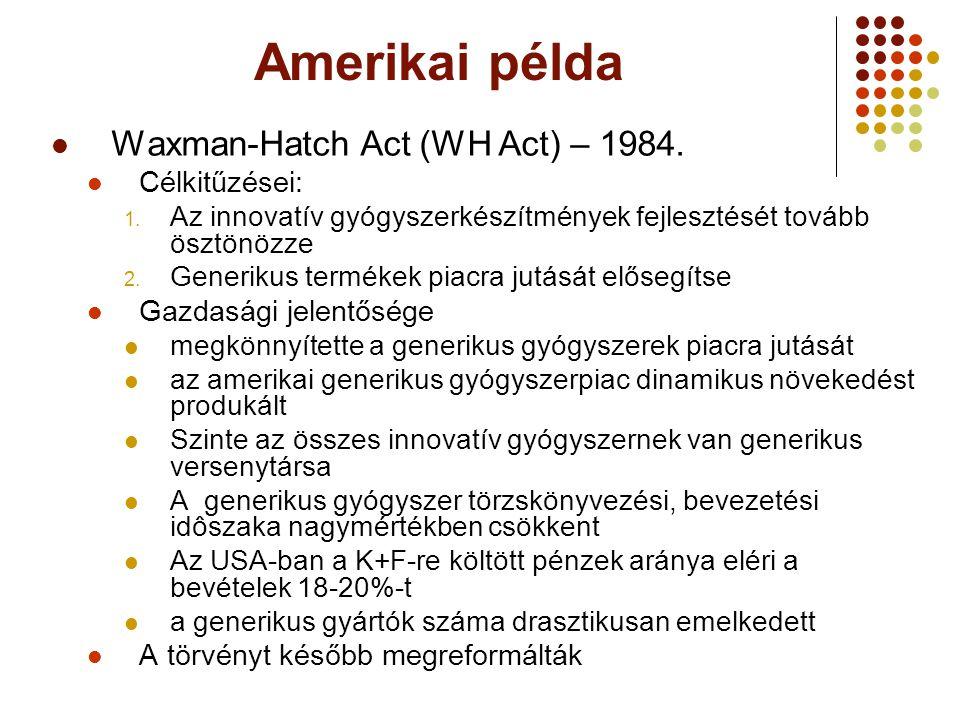 Amerikai példa Waxman-Hatch Act (WH Act) – 1984. Célkitűzései:
