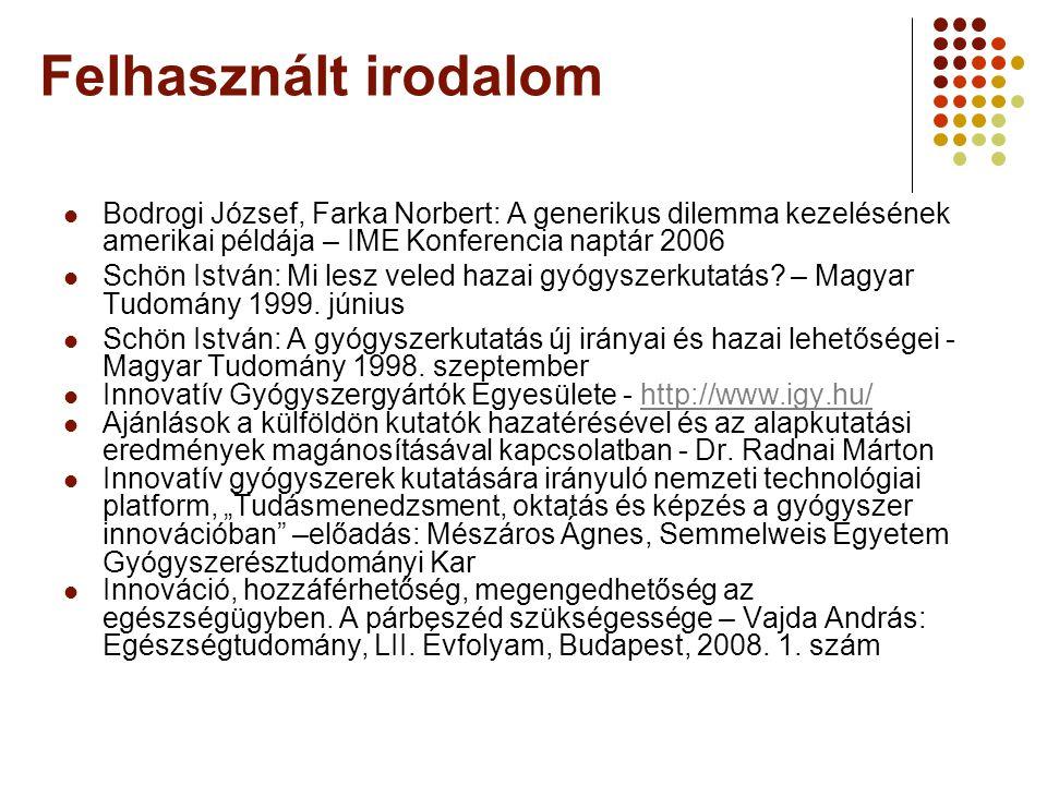 Felhasznált irodalom Bodrogi József, Farka Norbert: A generikus dilemma kezelésének amerikai példája – IME Konferencia naptár 2006.
