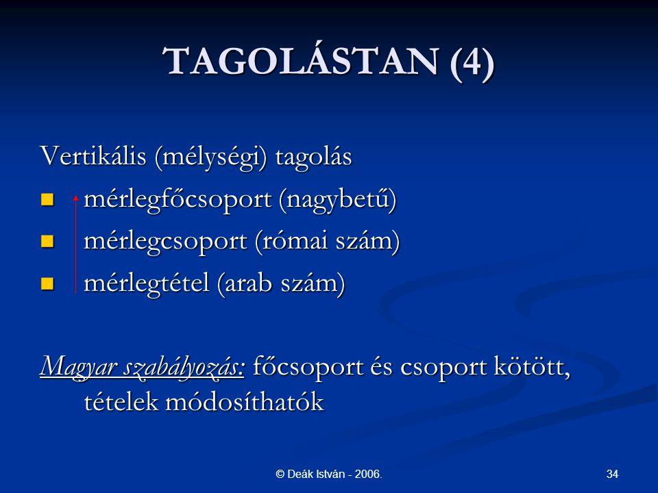 TAGOLÁSTAN (4) Vertikális (mélységi) tagolás