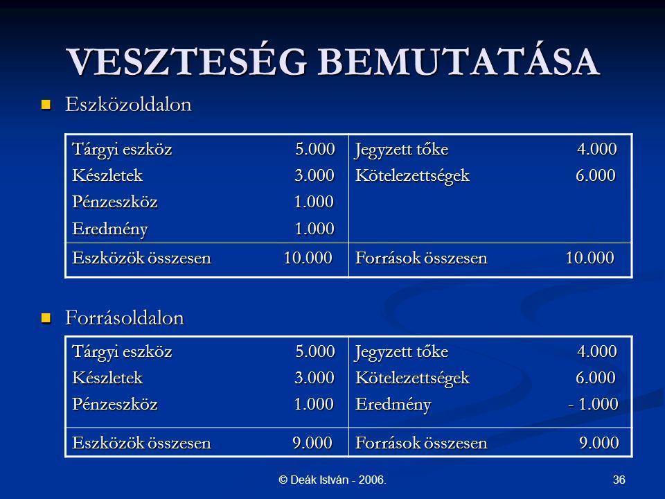 VESZTESÉG BEMUTATÁSA Eszközoldalon Forrásoldalon Tárgyi eszköz 5.000