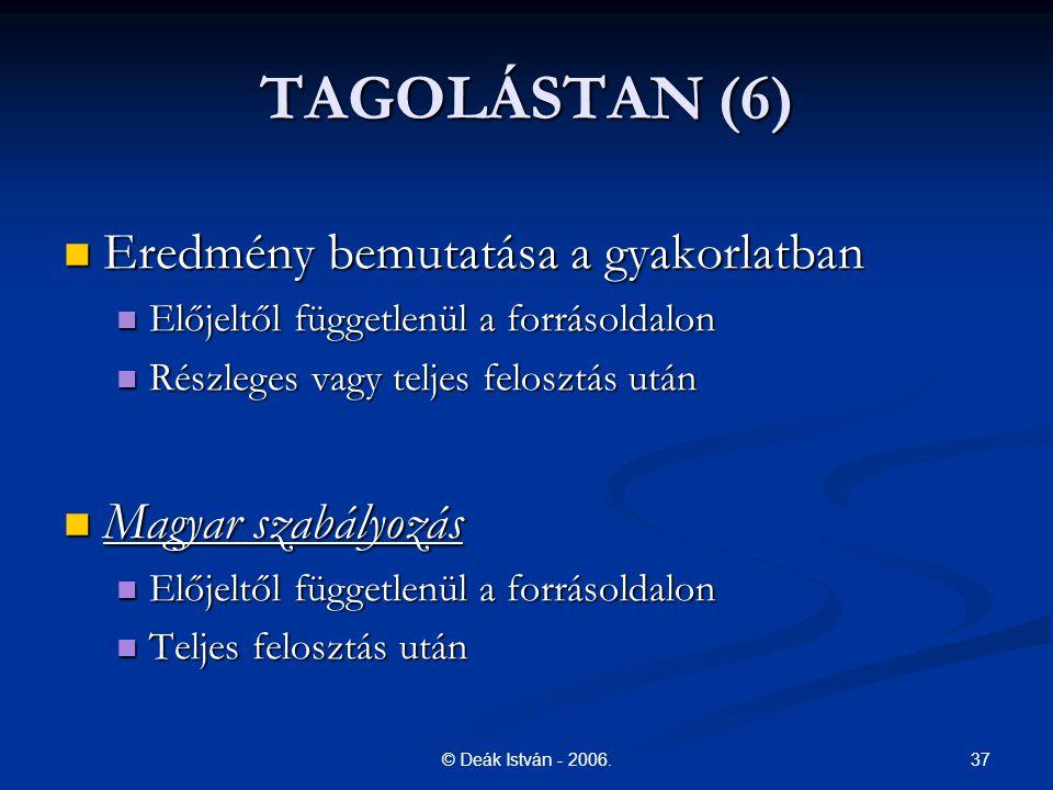 TAGOLÁSTAN (6) Eredmény bemutatása a gyakorlatban Magyar szabályozás
