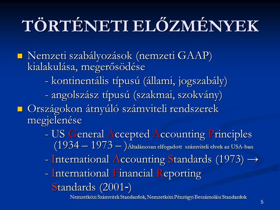 TÖRTÉNETI ELŐZMÉNYEK Nemzeti szabályozások (nemzeti GAAP) kialakulása, megerősödése. - kontinentális típusú (állami, jogszabály)