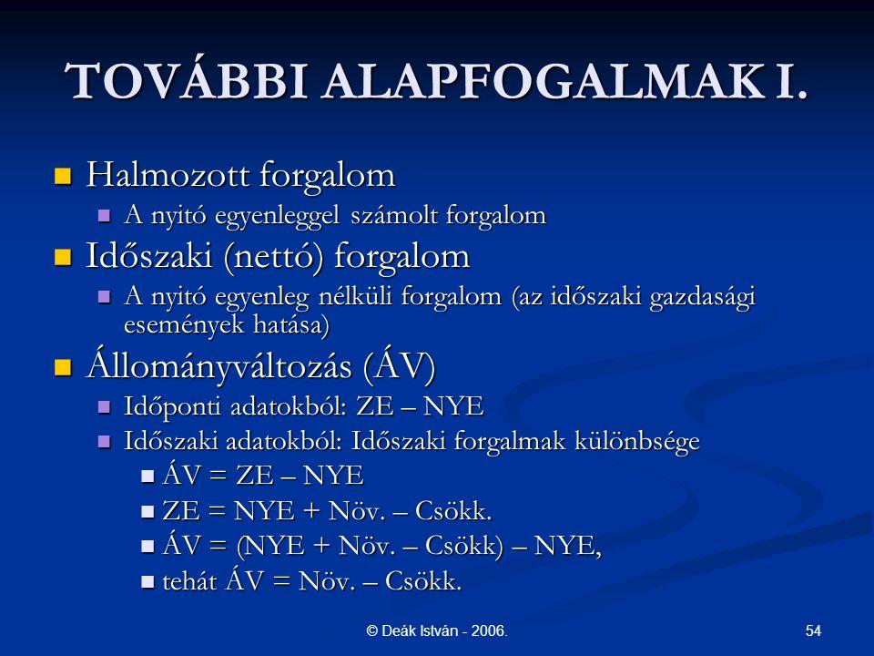 TOVÁBBI ALAPFOGALMAK I.
