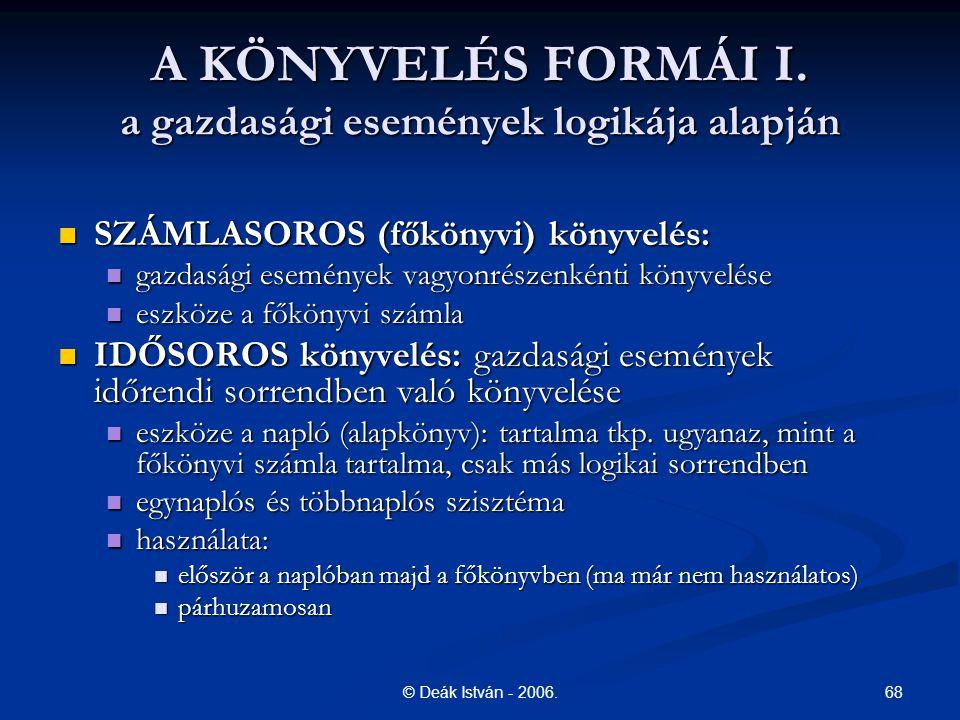 A KÖNYVELÉS FORMÁI I. a gazdasági események logikája alapján