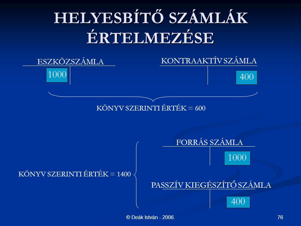 HELYESBÍTŐ SZÁMLÁK ÉRTELMEZÉSE