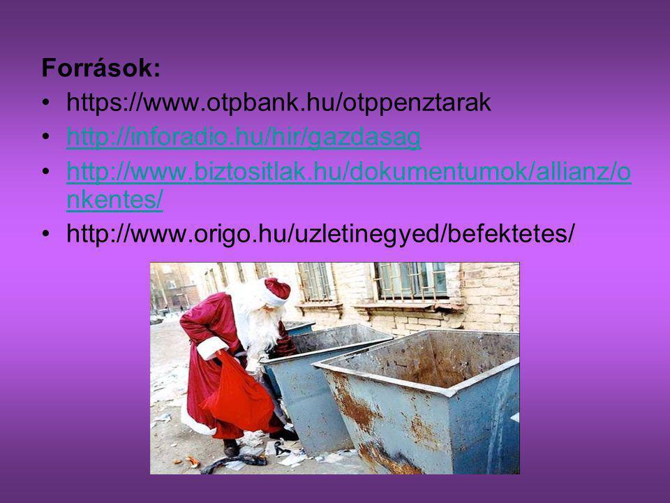 Források: https://www.otpbank.hu/otppenztarak. http://inforadio.hu/hir/gazdasag. http://www.biztositlak.hu/dokumentumok/allianz/onkentes/