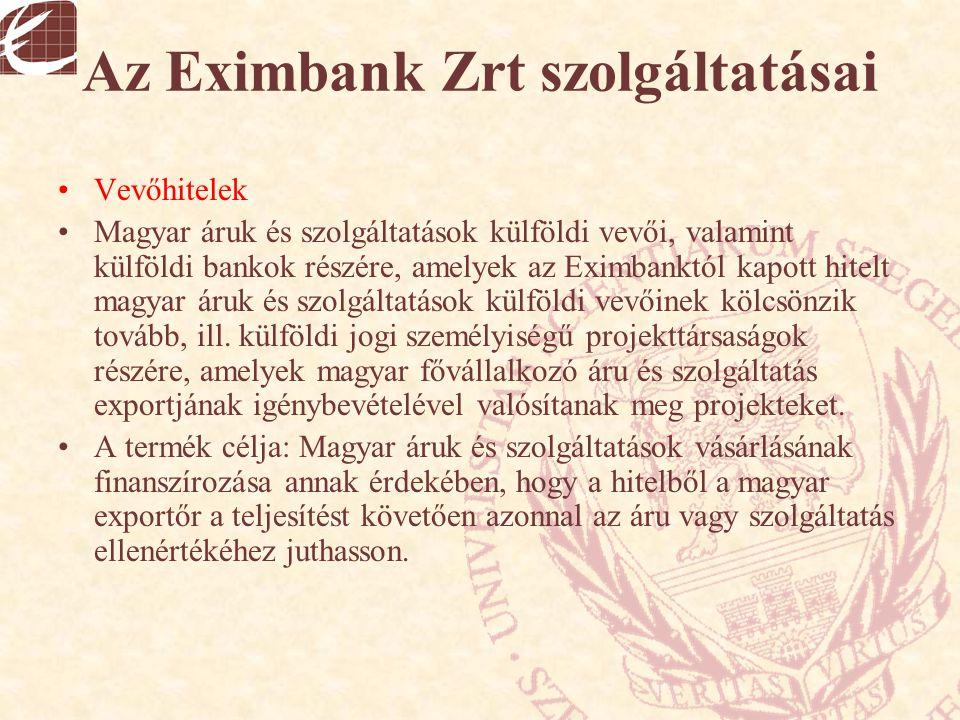 Az Eximbank Zrt szolgáltatásai