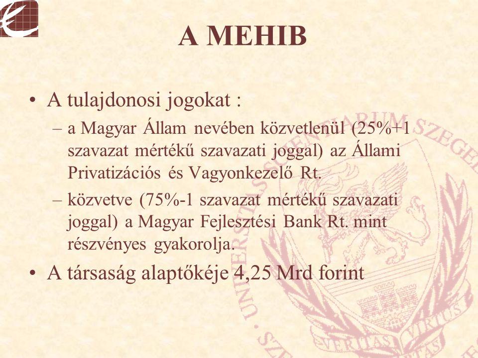 A MEHIB A tulajdonosi jogokat : A társaság alaptőkéje 4,25 Mrd forint