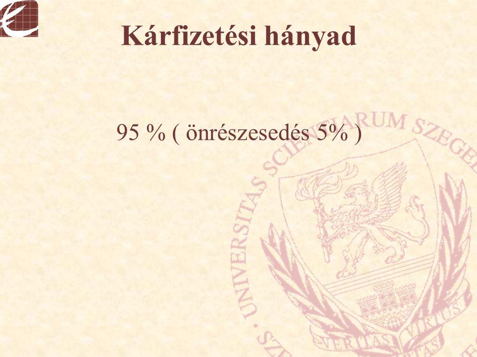 Kárfizetési hányad 95 % ( önrészesedés 5% )