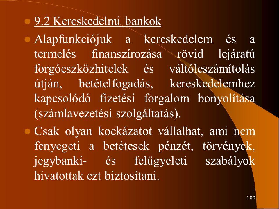 9.2 Kereskedelmi bankok