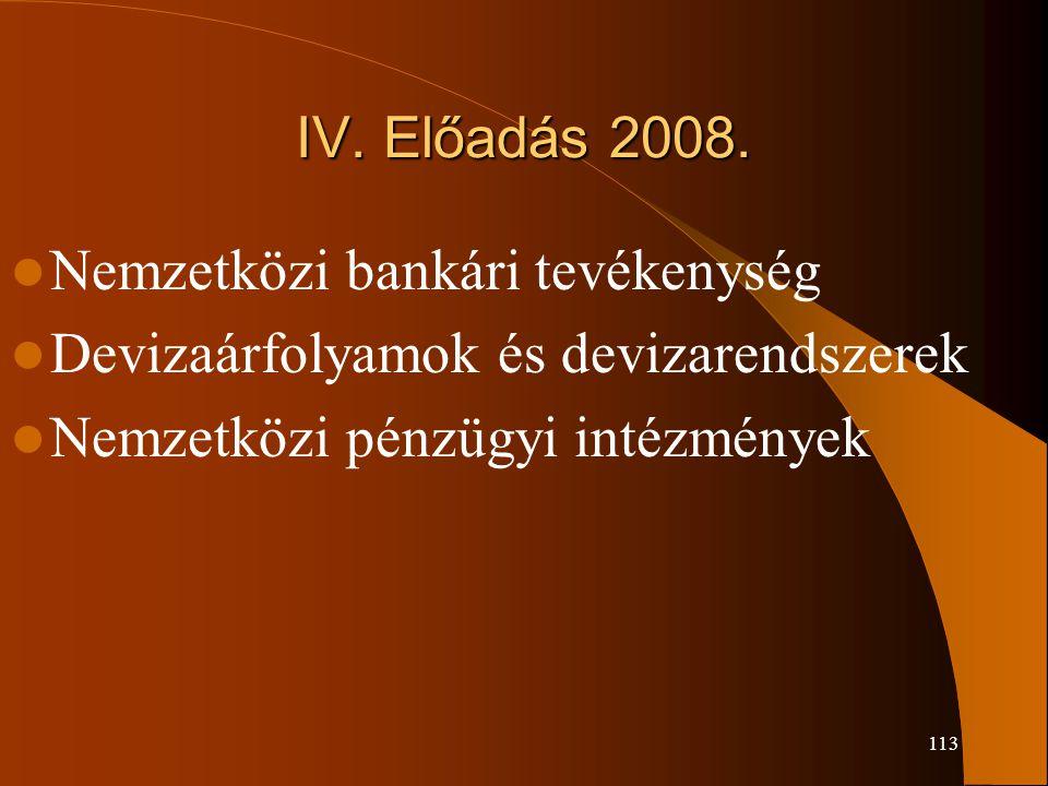 IV. Előadás 2008. Nemzetközi bankári tevékenység.
