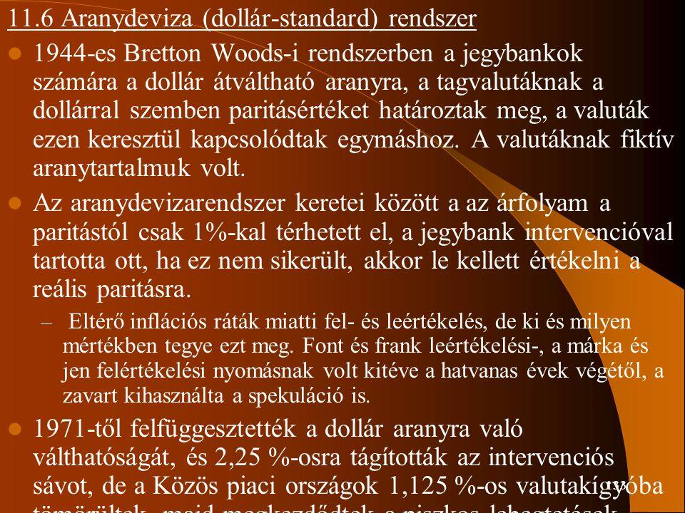 11.6 Aranydeviza (dollár-standard) rendszer