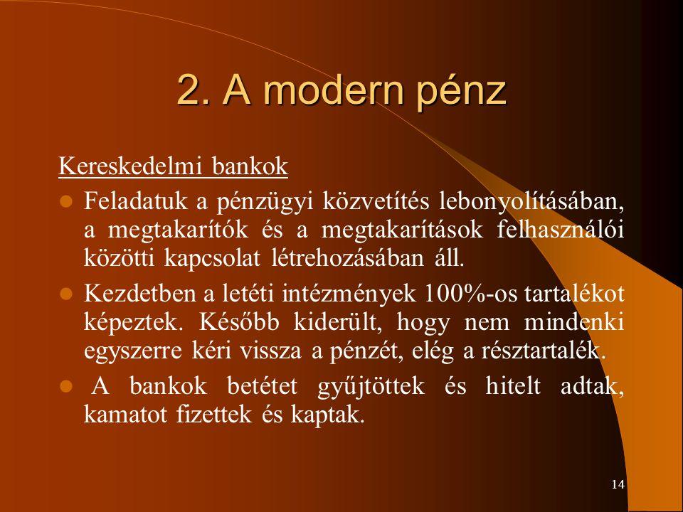 2. A modern pénz Kereskedelmi bankok