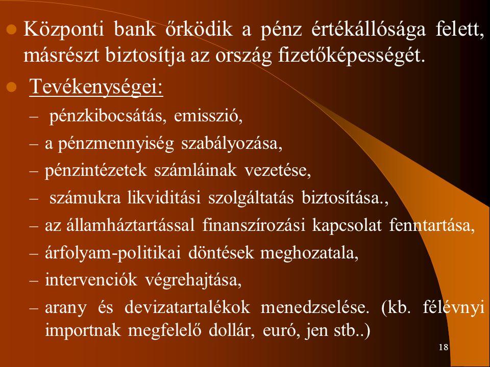 Központi bank őrködik a pénz értékállósága felett, másrészt biztosítja az ország fizetőképességét.