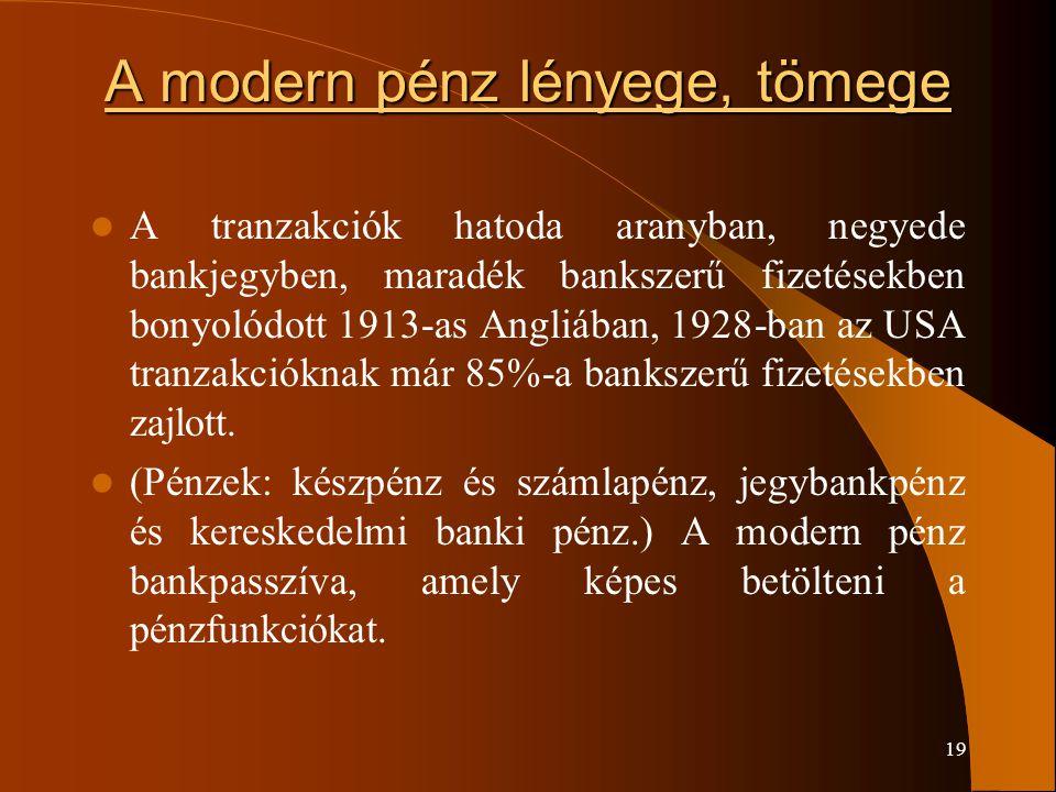 A modern pénz lényege, tömege