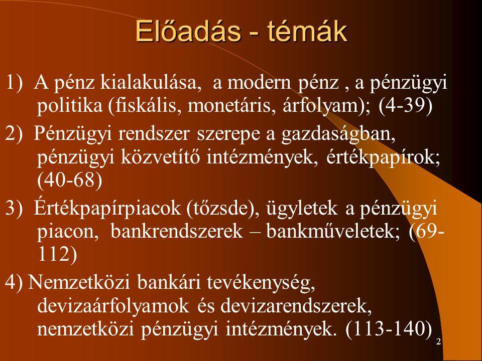 Előadás - témák 1) A pénz kialakulása, a modern pénz , a pénzügyi politika (fiskális, monetáris, árfolyam); (4-39)