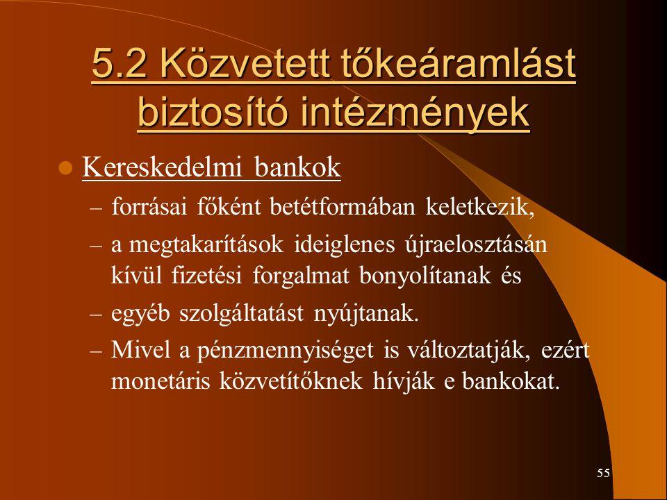 5.2 Közvetett tőkeáramlást biztosító intézmények