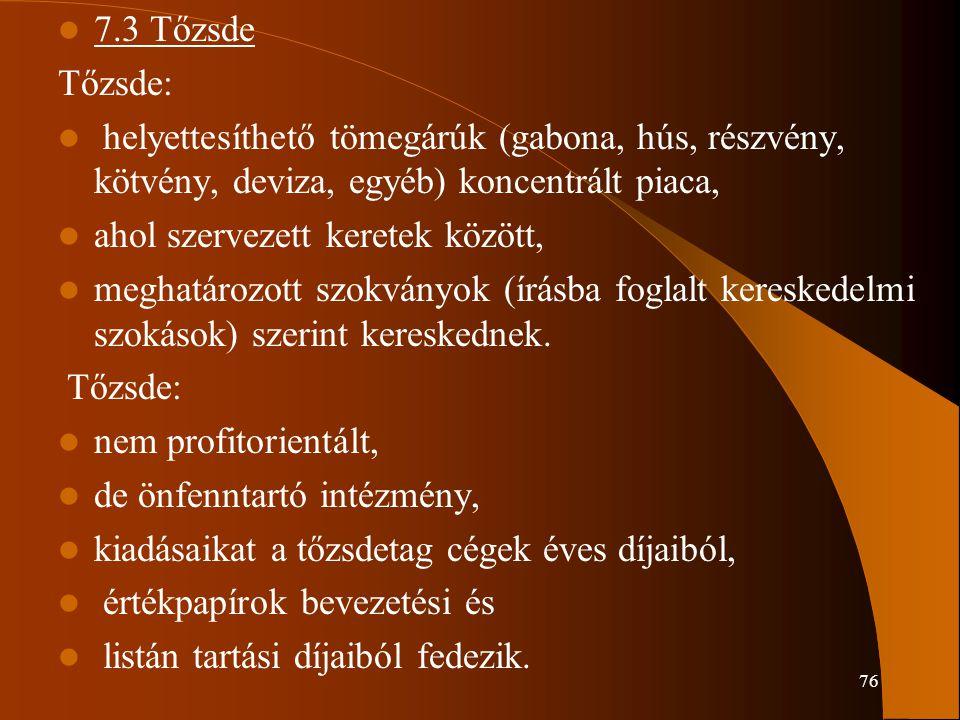 7.3 Tőzsde Tőzsde: helyettesíthető tömegárúk (gabona, hús, részvény, kötvény, deviza, egyéb) koncentrált piaca,