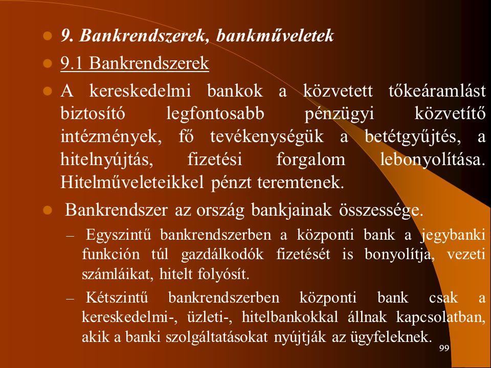 9. Bankrendszerek, bankműveletek 9.1 Bankrendszerek