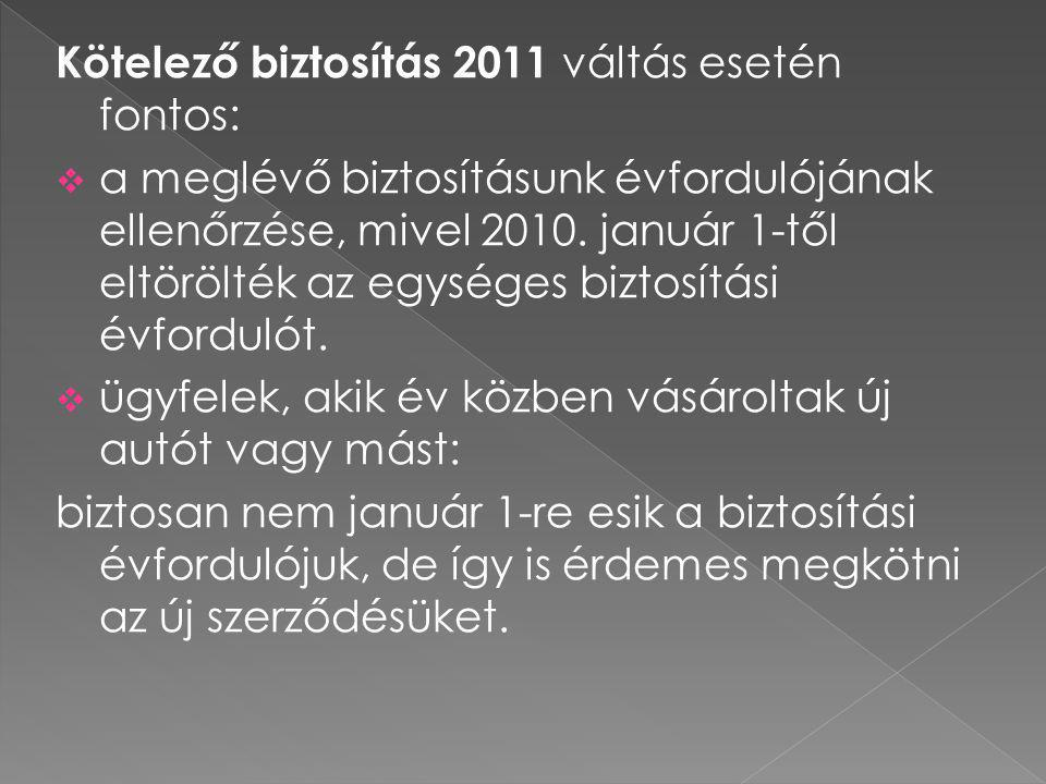 Kötelező biztosítás 2011 váltás esetén fontos: