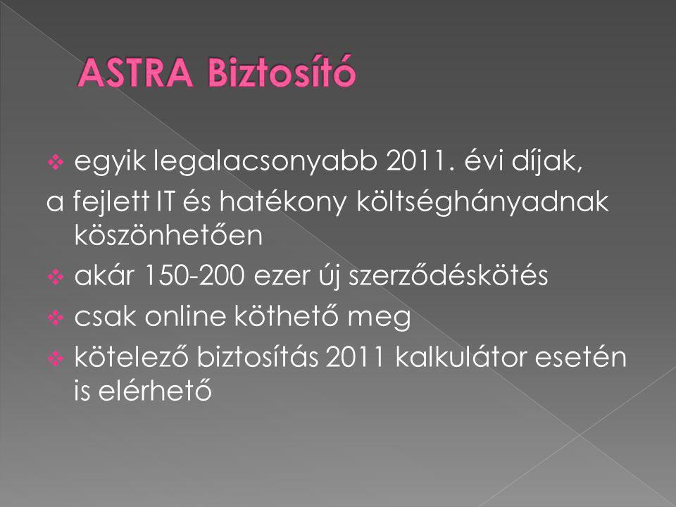 ASTRA Biztosító egyik legalacsonyabb 2011. évi díjak,