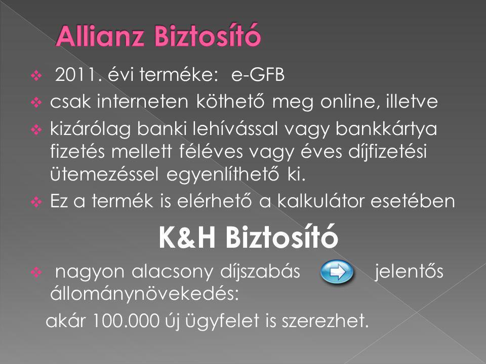 K&H Biztosító Allianz Biztosító 2011. évi terméke: e-GFB